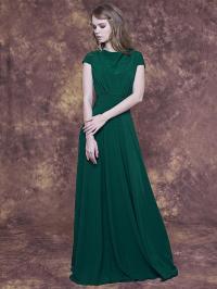 Long Emerald Green Dress With Cap Sleeve/ Emerald ...