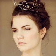 geometric silver crown tiara bridal