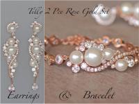 Pearl Earring And Bracelet Set Handcrafted Swarovski ...