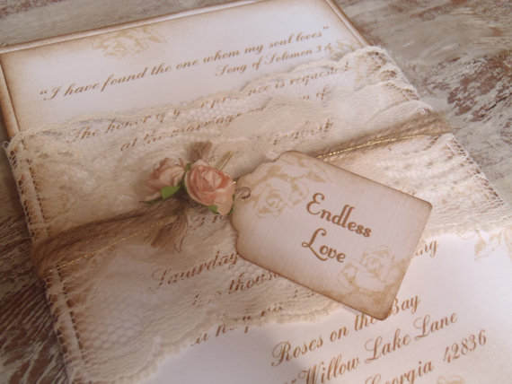 Key Heart Vintage Wedding Invites