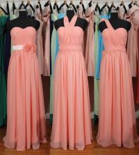 Peach Pink Bridesmaid Dress, Long Pink Convertible Chiffon ...