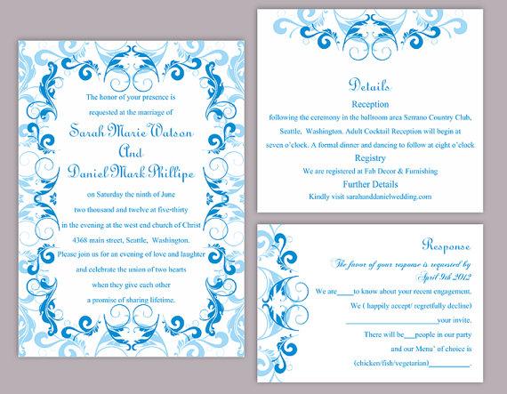 Customize Winter Blue Wedding Invitation