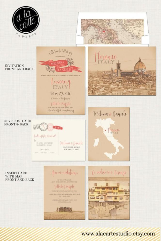Destination Wedding Invitation Tuscany Florence Italy