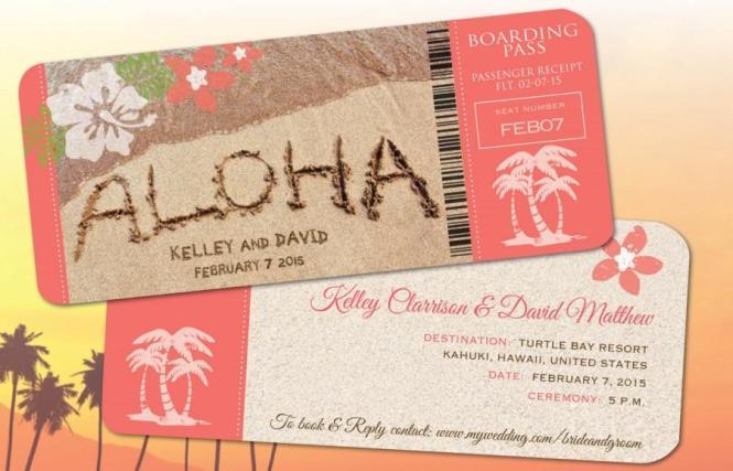 Hawaii Wedding Boarding Pass Save The Date Invitations