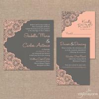 Printable Wedding Invitation Set // Rustic Lace Wedding ...