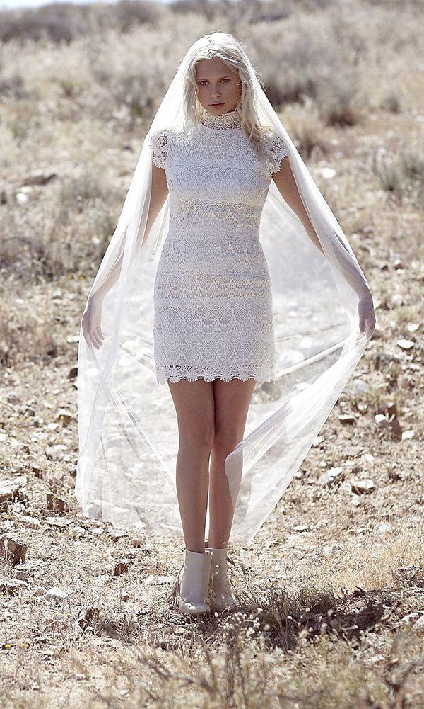 Vintage Inspired HIgh Neck Wedding Dress Crochet Lace Cap