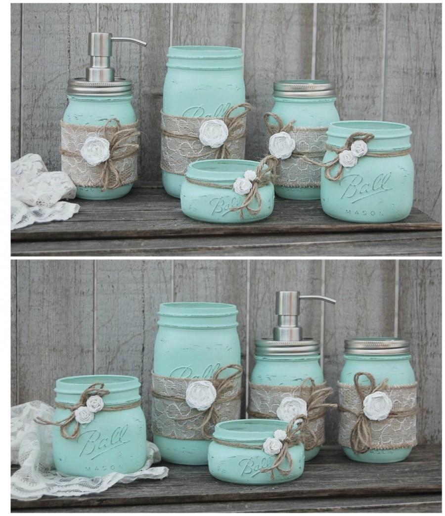 Mason Jar Bathroom Set Mint Green Shabby Chic Soap Dispenser Bathroom Jars 5 Piece Burlap Rustic Distressed Beach Decor Metal Pump 2547079 Weddbook