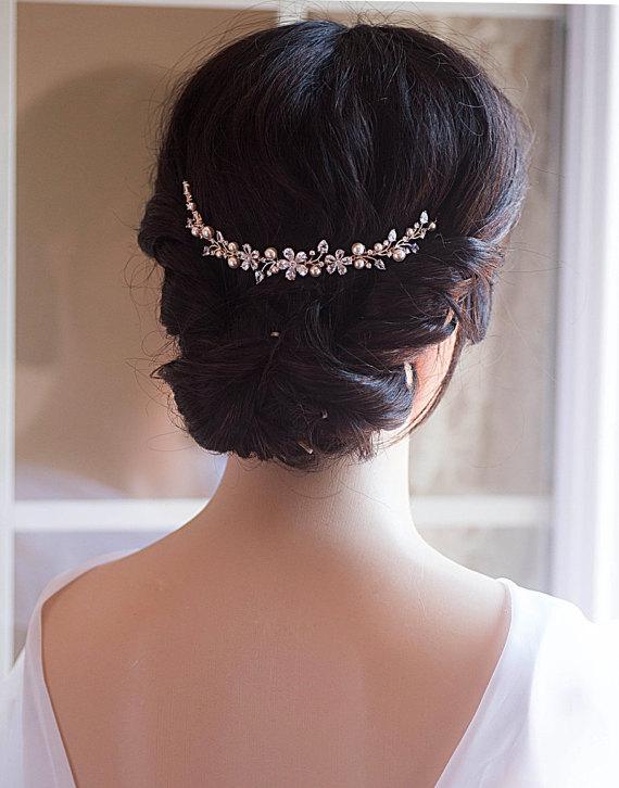 wedding hair chain bridal hair chain swarovski pearls crystal hair wrap headpiece rose gold wedding halo crystal hair comb comb vine