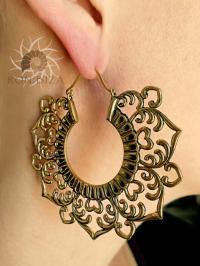 Brass Earrings - Brass Hoops - Gypsy Earrings - Tribal ...