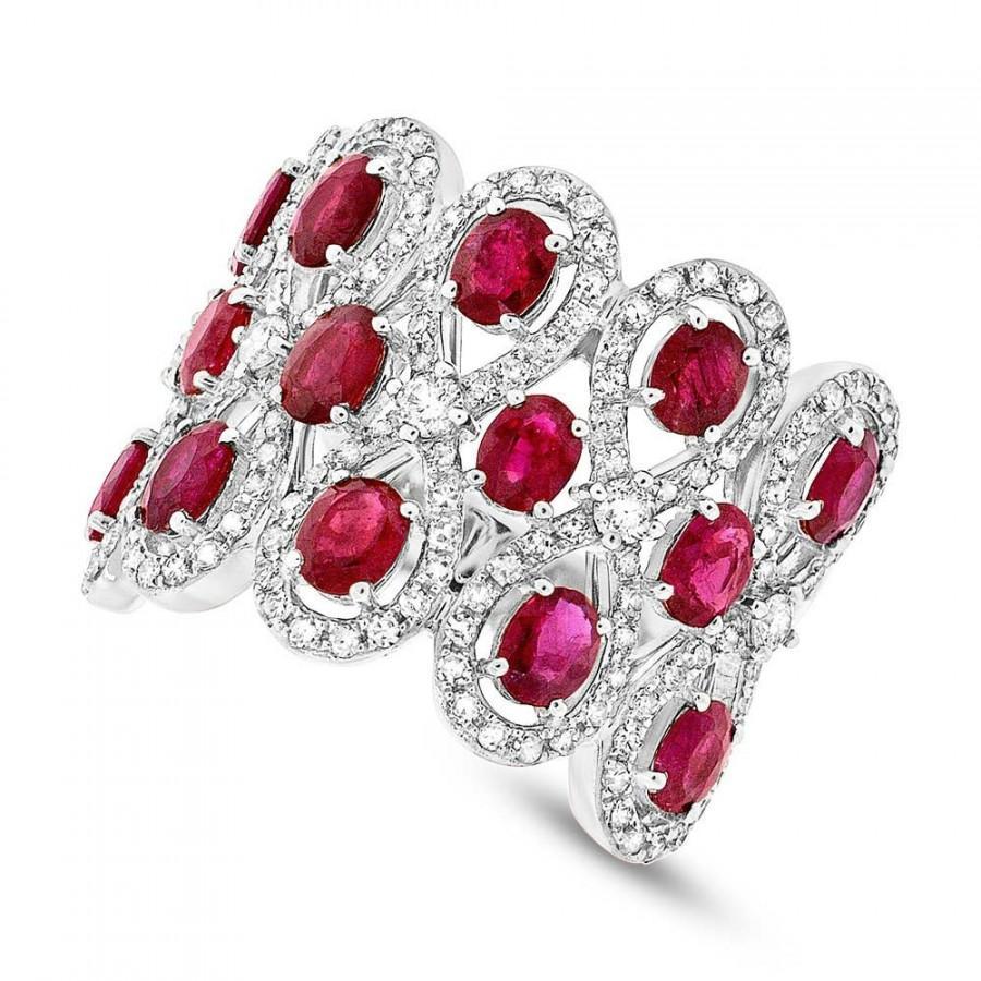 Ruby  Diamond 14k White Gold Ring  Wedding Rings