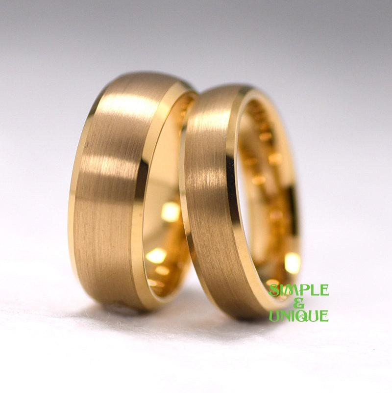 Tungsten Couple RingMatching Wedding BandsGold Plated