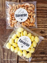 His/Hers Wedding Favor Stickers - Wedding Favors, Shower ...