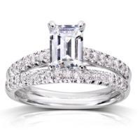 Emerald Cut Diamond Solitaire Engagement Ring/ Wedding