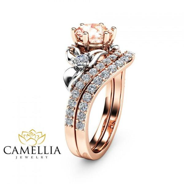 Morganite Unique Engagement Ring Set 14K Two Tone Gold