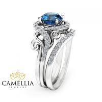 London Blue Topaz Engagement Ring Set Unique 14K White ...