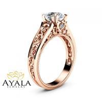 Rose Gold Moissanite Engagement Ring Milgrain Moissanite ...