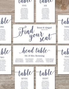 Wedding seating chart template diy cards editable printable navy decor also rh weddbook