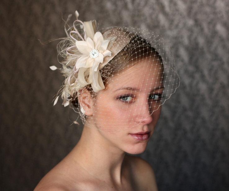 Ivory BIRD CAGE VEIL Vintage Style Wedding Headdress