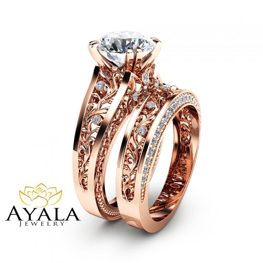 Rose Gold Moissanite Engagement Ring Set Unique 2 Carat