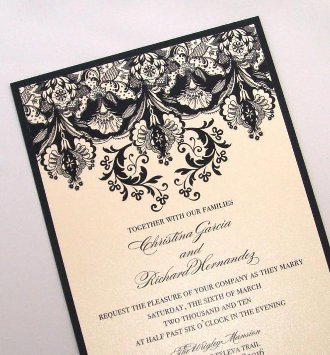 Damask Wedding Invitation Elegant