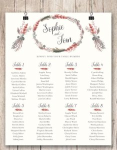 Wedding seating chart plan rustic boho decor feather floral wreath guest arrangements table name also rh weddbook