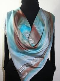 Silver Grey, Steel Blue, Brown Handmade Scarf FOGGY BEACH ...