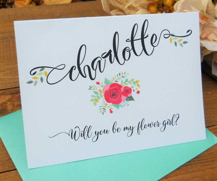 PERSONALIZED Will You Be My FLOWER GIRL Card, Shimmer