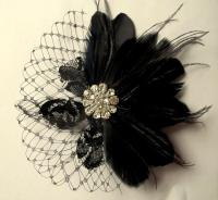 Wedding Hair Clip, Black Fascinator,Black Feather Headband