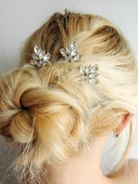 Set Of 3/ Swarovski Crystal Hair Pins/ Hair Pins/ Bridal ...