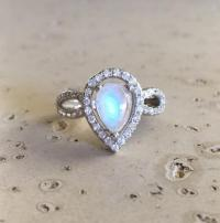 Pear Shape Engagement Ring- Moonstone Ring- Promise Ring ...