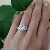 3 Band 2.25 Ctw Halo Wedding Set, Vintage Inspired Bridal ...