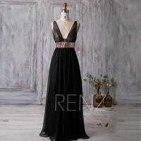 2016 Black Bridesmaid Dress, Rose Gold Sequin Wedding
