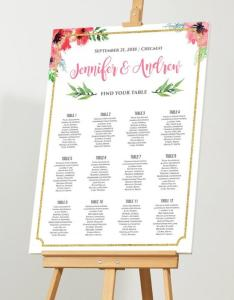 Wedding seating chart editable plan instant download diy floral printable gold glitter border pdf template also rh weddbook