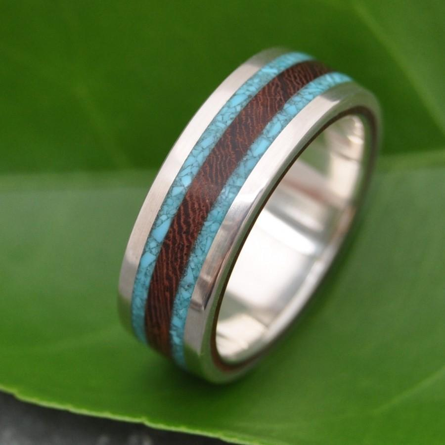 Wood Ring With Turquoise Inlay