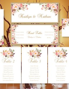 Wedding seating chart romantic blooms floral table sign templates number cards place tent compat with avery also rh weddbook