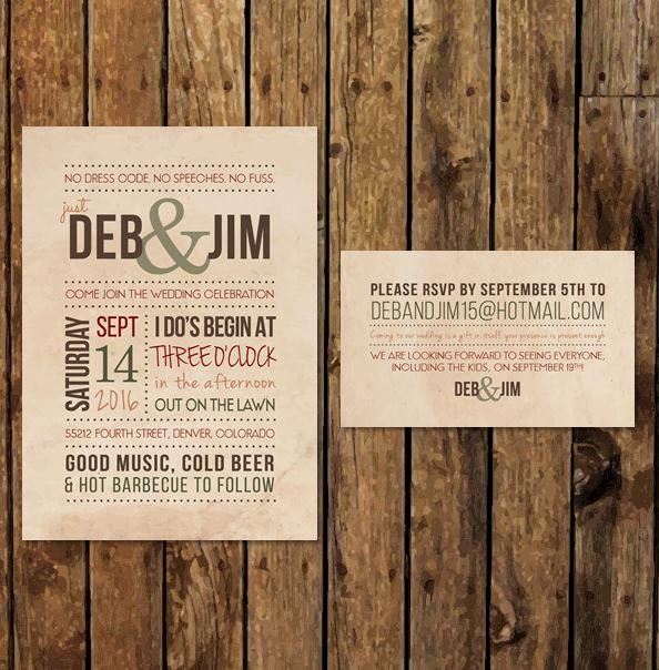 Diy Printable Backyard Bbq Wedding Invitation Casual