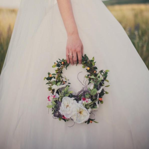 Image result for wreath bouquet bride