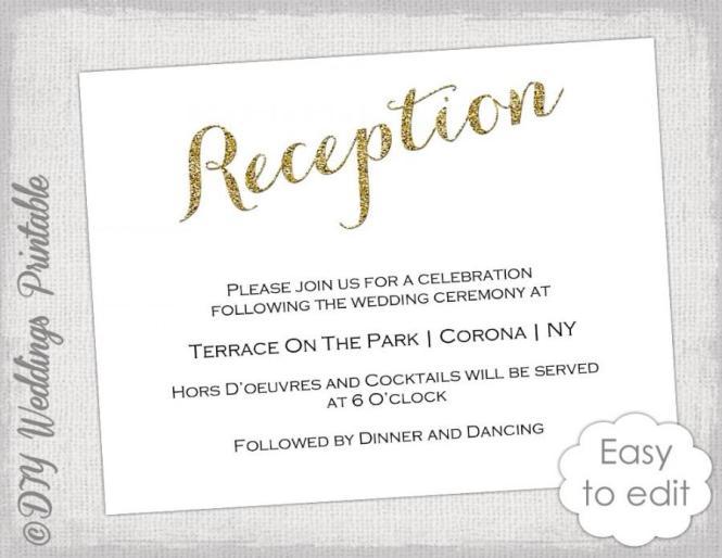 Wedding Reception Invitation Template Diy Gold Glitter