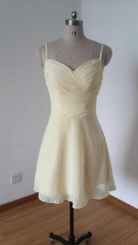 Spaghetti Straps Cream Chiffon Short Bridesmaid Dress ...