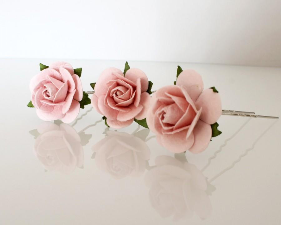 Large Blush Pink Rose Hair Pins Wedding Hair Pins Bridal