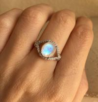 Statement Moonstone Ring- Promise Ring- Engagement Ring ...