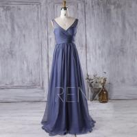 2016 Steel Blue Bridesmaid Dress, V Neck Chiffon Wedding ...