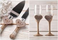 Toasting Glasses Flutes Rustic Cake Serving Set