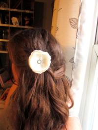 Cream Ivory Lace Wedding Hair Flower Pearl Hair Piece