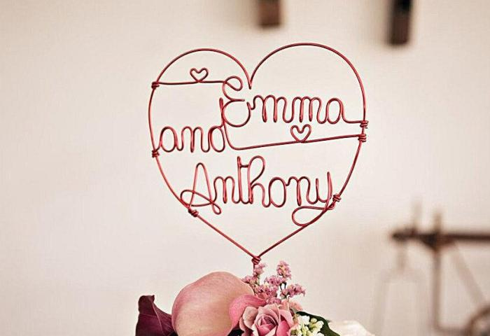 Personalized Wedding Cake Topper Heart With Names Anniversary Cake