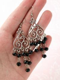 Long Dangle Earring Chandelier Earring Black Bead Earring ...