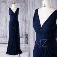 2016 Navy Blue Bridesmaid Dress, V Neck Wedding Dress ...