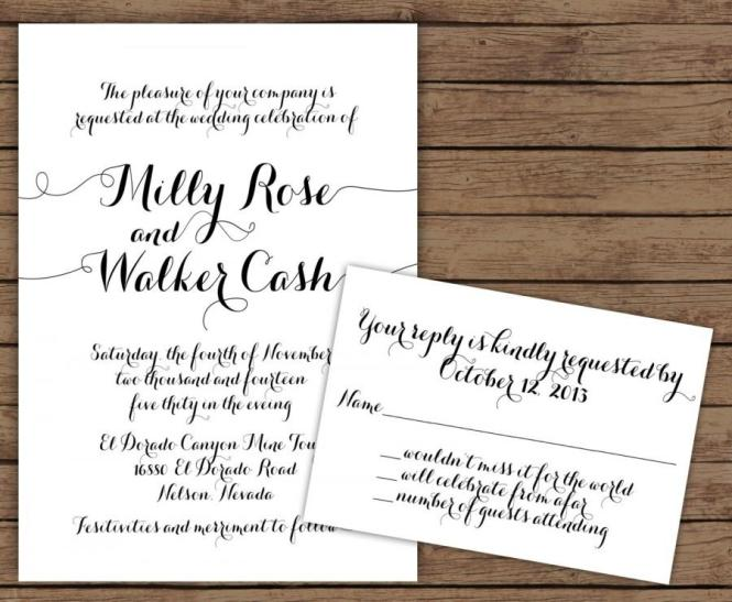 Modern Calligraphy Wedding Invitation With Rsvp 2570390