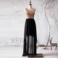 2016 Black Bridesmaid Dress, Rose Gold Sequin Wedding ...