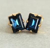 Navy Blue Studs,Deep Blue Earrings,Navy Blue Crystal ...
